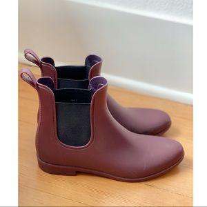 J. Crew Chelsea Rain Boots in Maroon